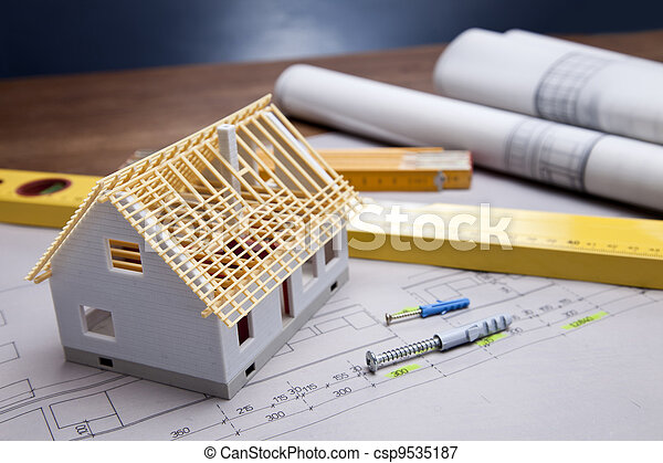 edificio, encima, herramientas, planos - csp9535187