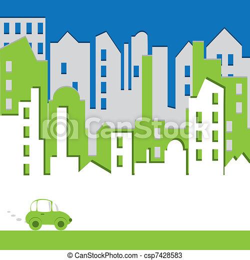 Cityscape. Edificio abstracto con coche. Un concepto ambiental - csp7428583