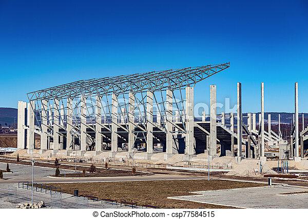 edificio, fútbol, nuevo, sitio, estadio, construcción - csp77584515
