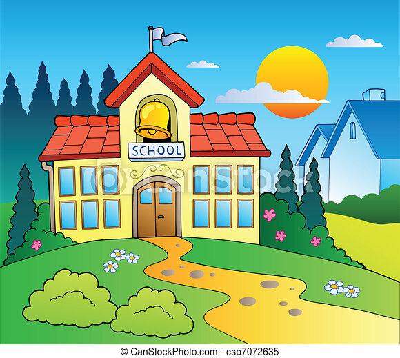 El tema del edificio de la escuela - csp7072635