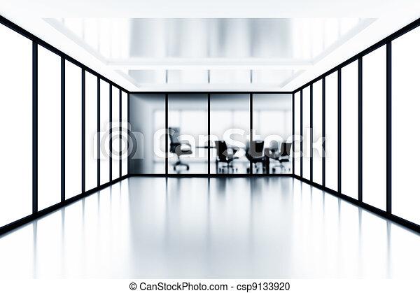 Sala de reuniones y ventanas de vidrio en el edificio de oficinas moderno - csp9133920