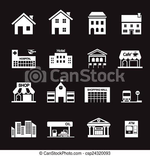edificio, icono - csp24320093