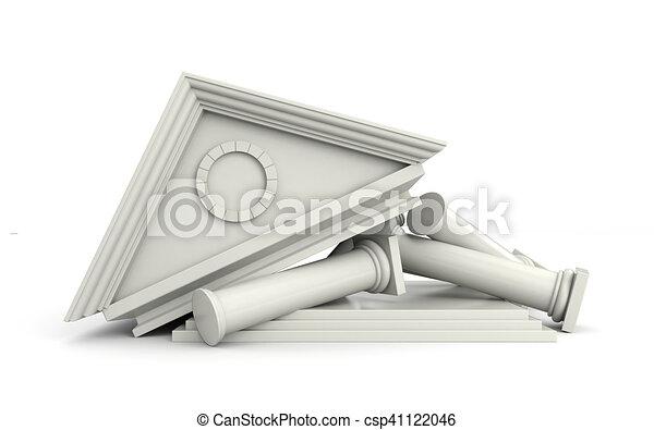 Edificio destruido al estilo de las antigüedades. Ilustración 3D - csp41122046
