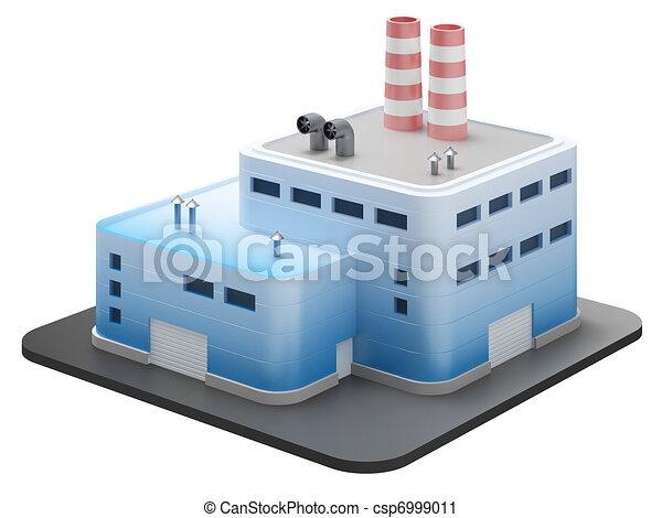 Edificio industrial en blanco, 3D - csp6999011