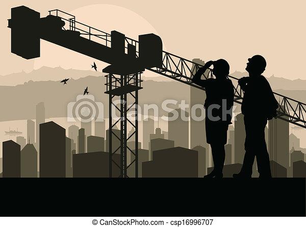 edificio, industrial, mirar, proceso, sitio, ilustración, director, construcción, vector, rascacielos, plano de fondo, grúa, ingeniero - csp16996707
