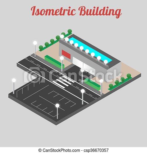 Vector isometrico centro comercial icono. Modelo 3D de la tienda. - csp36670357