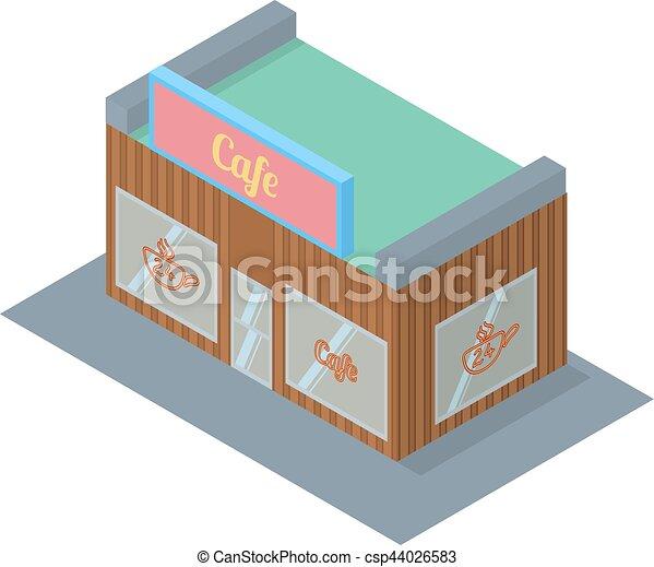 Isometric Café construyendo ilustración vector de vector de icono - csp44026583