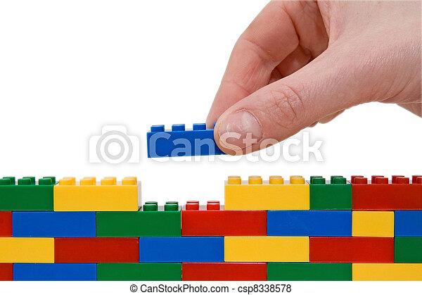edificio, mano, lego - csp8338578