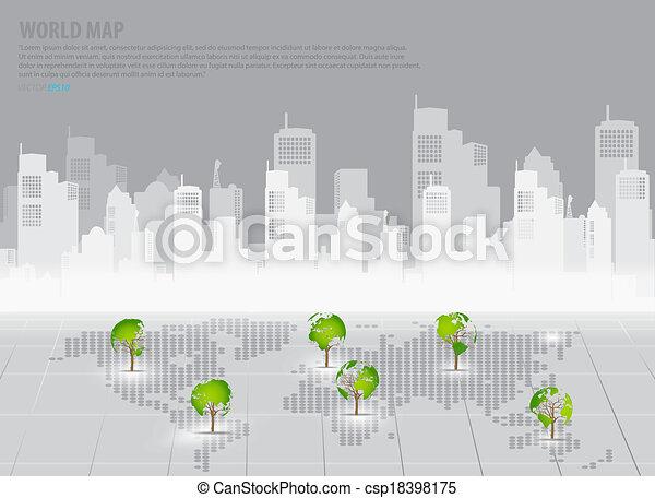 El concepto de economía verde, el mapa del mundo con forma de árbol con formación de fondo. Ilustración de vectores. - csp18398175