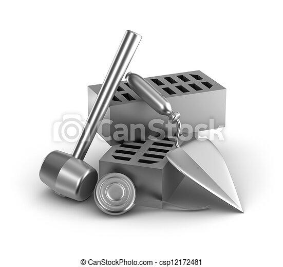 edificio, measur, cinta, martillo, tools: - csp12172481