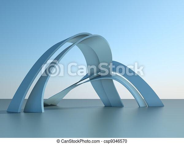 Tercera ilustración de un edificio de arquitectura moderno con arcos en el fondo del cielo - csp9346570