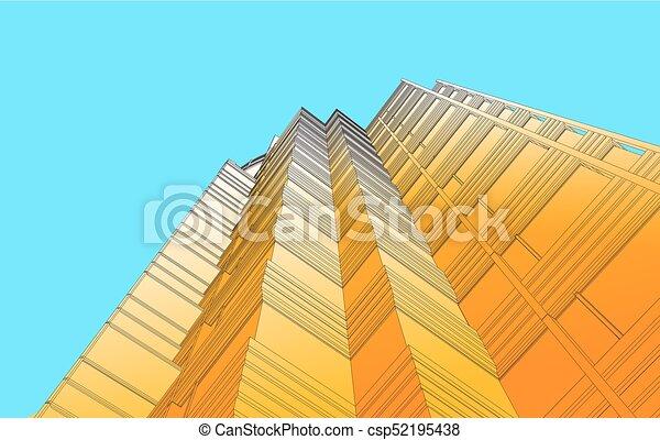 Vista perspectiva del edificio moderno en vector - csp52195438