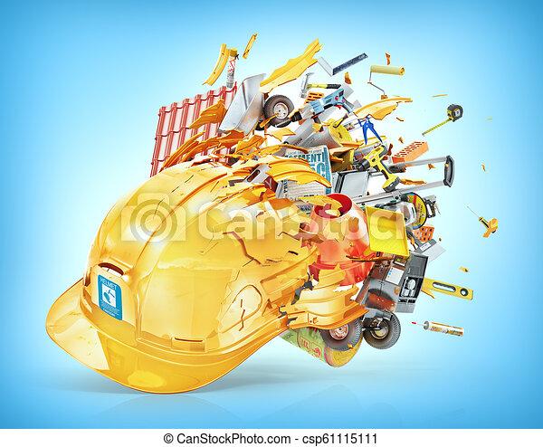 Un concepto de construcción. Los materiales de construcción salen volando del casco roto. Ilustración 3D - csp61115111