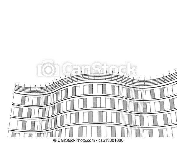 Edificio, parte, moderno, oficina. Edificio, apartamento, plano de ...