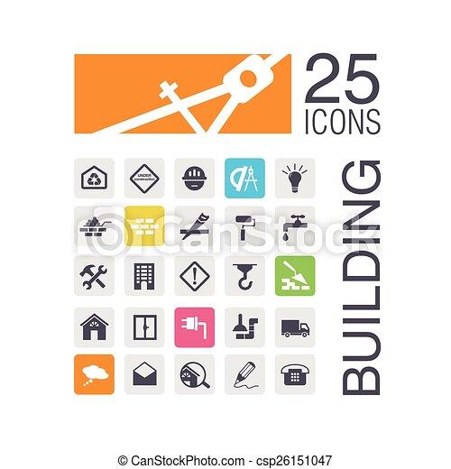 iconos de edificios planos - csp26151047