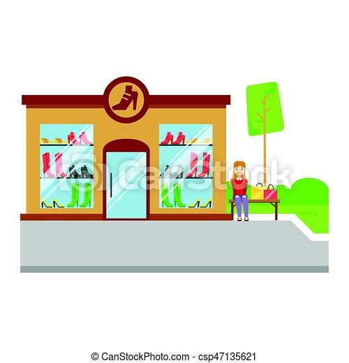 Los zapatos almacenan icono de construcción, ilustración vectorial colorida - csp47135621