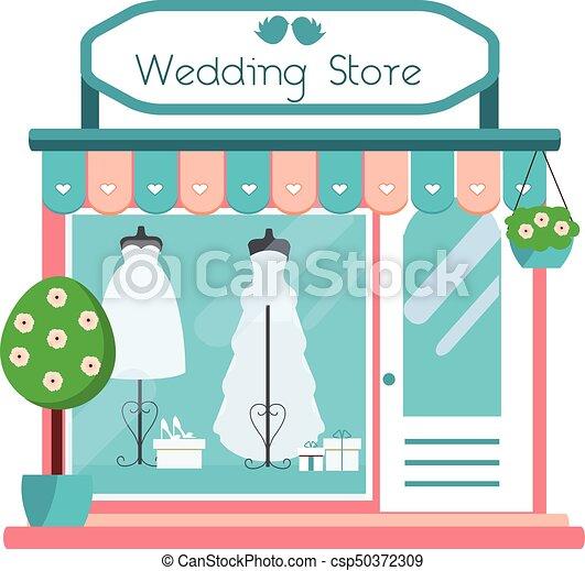 La vista de la fachada de la tienda de bodas. El icono del salón de bodas. Una boutique con vestidos de novia a la moda. Ilustración de vectores - csp50372309