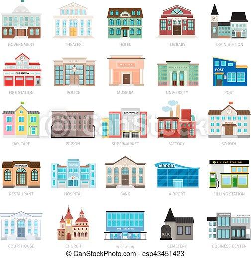 Edificio, urbano, gobierno, coloreado, iconos. Edificio, ciudad ...