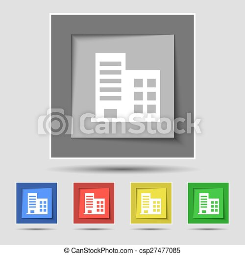 Edificios, buttons., coloreado, apartamentos, residencial, torre ...