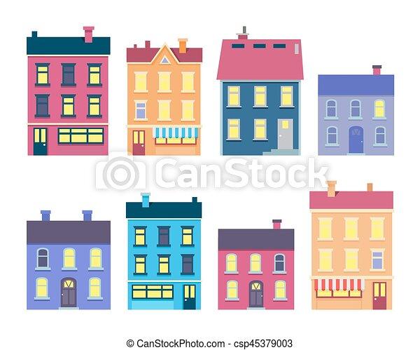Colección de edificios de Navidad coloridos en blanco - csp45379003