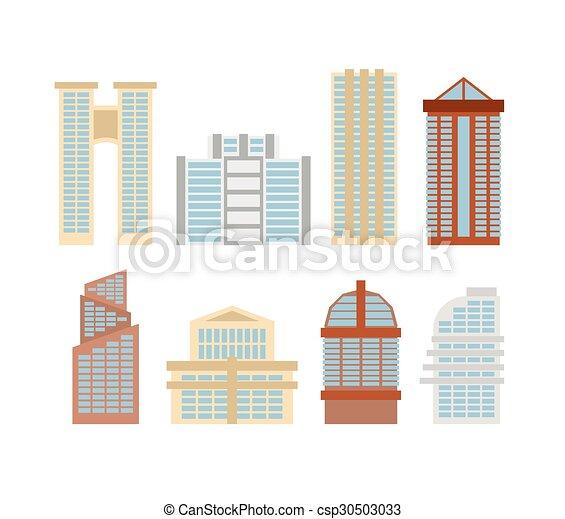Edificios, conjunto, city., coloreado, oficina, rascacielos, moderno ...