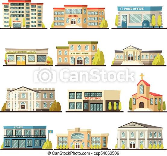 Edificios, conjunto, coloreado, municipal, icono. Edificios ...