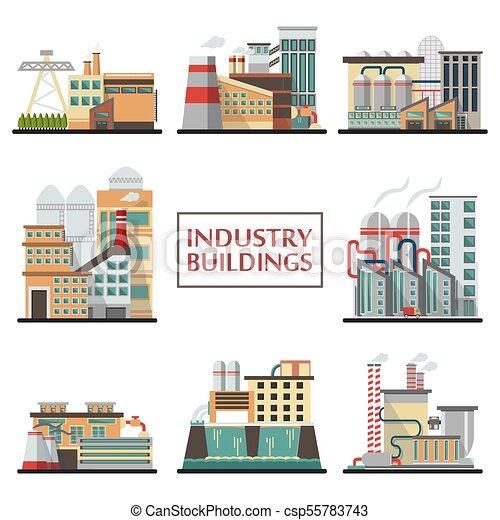 Edificios industriales en vector. - csp55783743