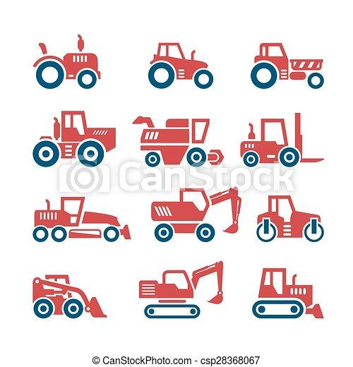 Edificios, conjunto, máquinas, color, iconos, tractores, vehículos ...