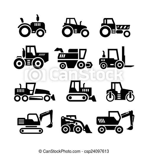 Pon iconos de tractores, máquinas de granjas y edificios, vehículos de construcción - csp24097613