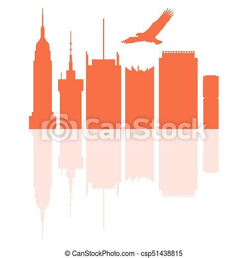 Siluetas de edificios modernos en EE.UU. y águila en ascenso. - csp51438815