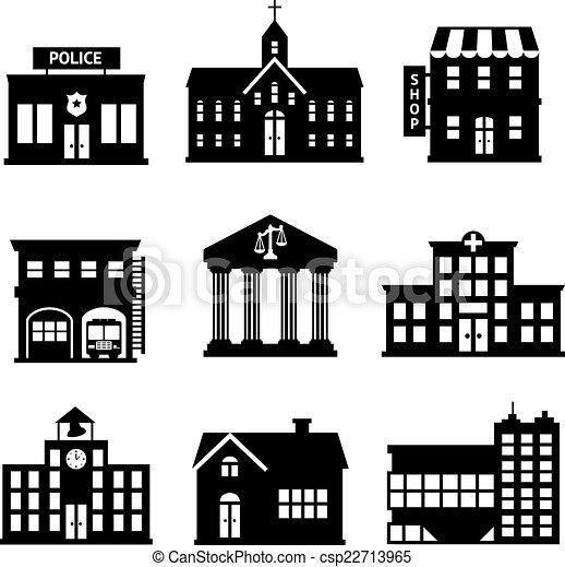 Clip art vectorial de edificios gobierno negro blanco iconos