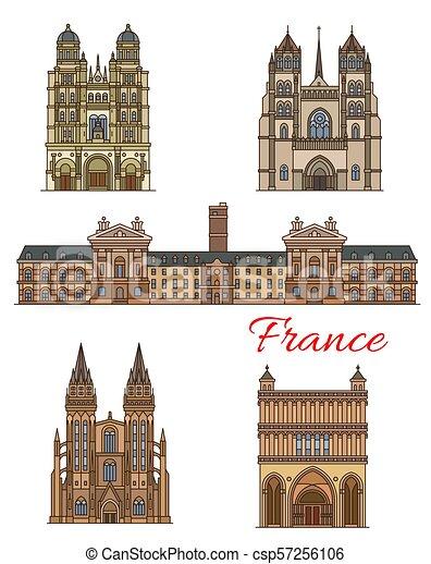 Francia marca vectores de viaje edificios de iconos - csp57256106