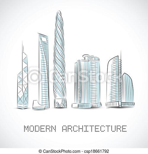 Edificios, moderno, rascacielos, colección. Edificios, rascacielos ...