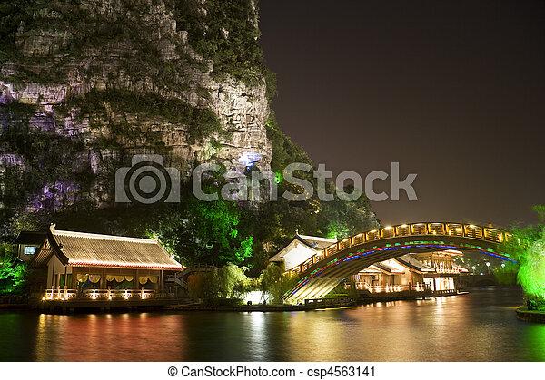 edificios, mulong, lago, china, guilin, puente - csp4563141