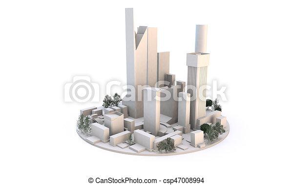 Cityscape vista desde el nivel de tierra (edificios blancos en el fondo blanco) - csp47008994