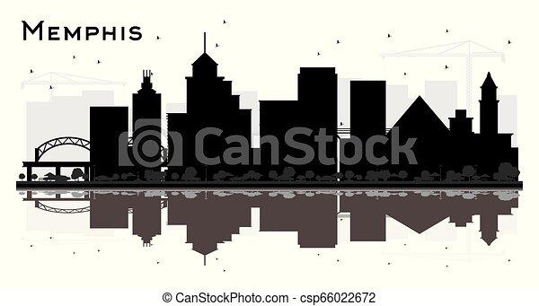 Memphis tennessee skyline silueta con edificios negros y reflexiones aislados en blanco. - csp66022672