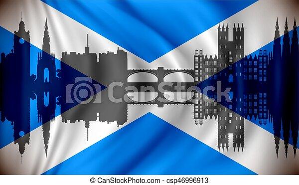 edimbourg, horizon, drapeau écosse - csp46996913