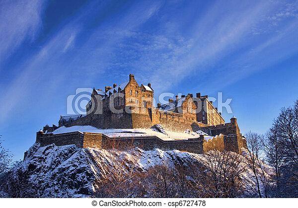 Edinburgh Castle In Winter Sunset - csp6727478