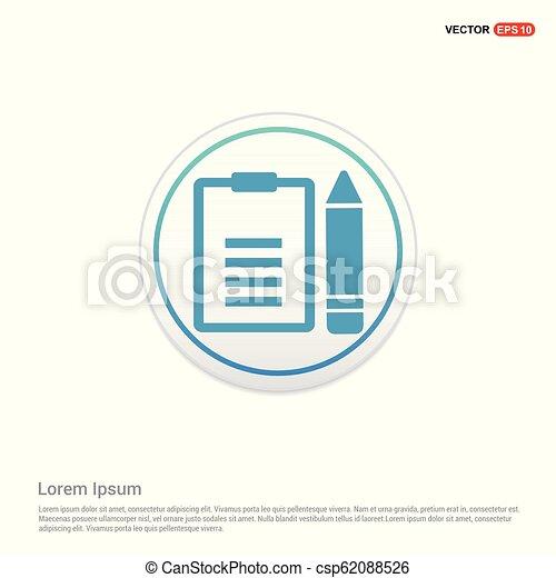 edit document icon - white circle button - csp62088526