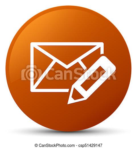 Edit email icon brown round button - csp51429147