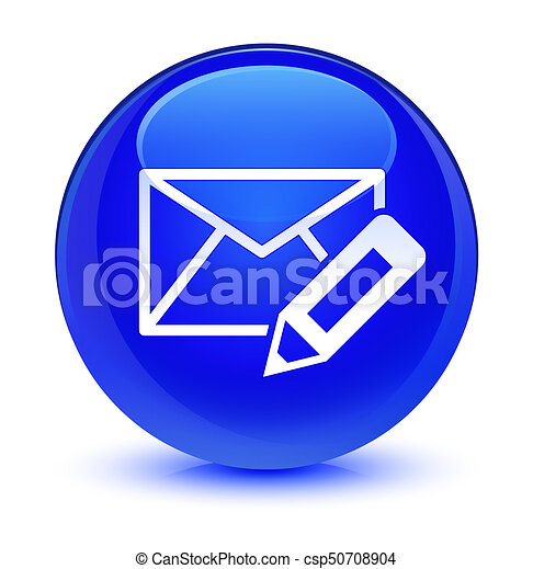 Edit email icon glassy blue round button - csp50708904