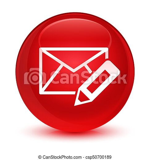 Edit email icon glassy red round button - csp50700189