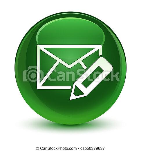 Edit email icon glassy soft green round button - csp50379637