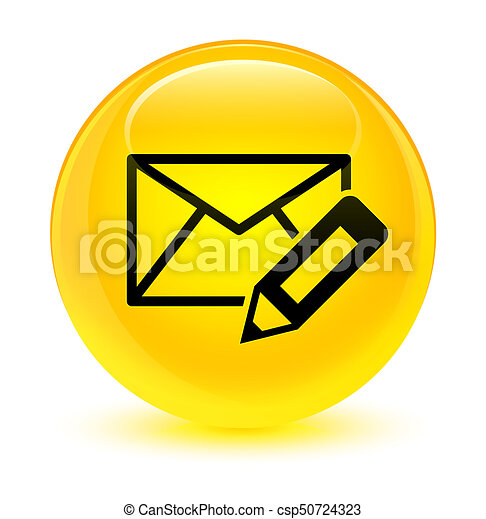 Edit email icon glassy yellow round button - csp50724323