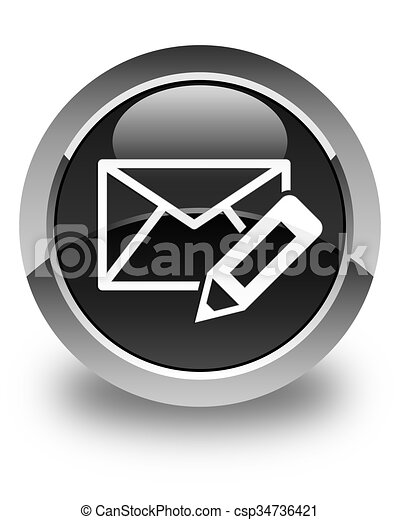 Edit email icon glossy black round button - csp34736421