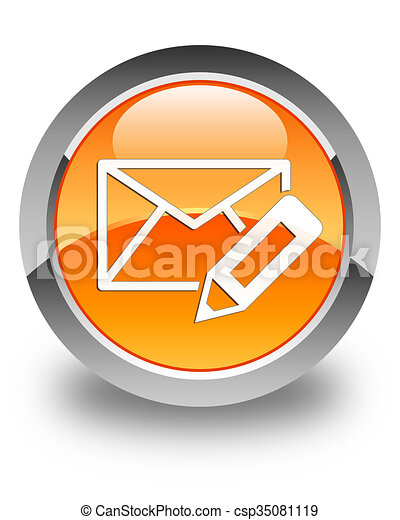 Edit email icon glossy orange round button - csp35081119