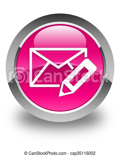 Edit email icon glossy pink round button - csp35116002