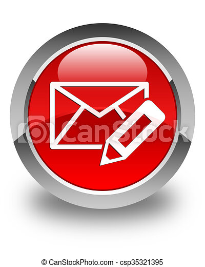 Edit email icon glossy red round button - csp35321395