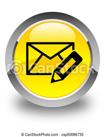 Edit email icon glossy yellow round button - csp50686735