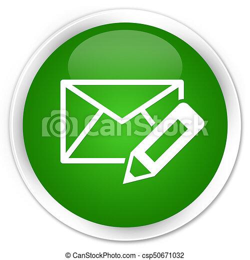 Edit email icon premium green round button - csp50671032